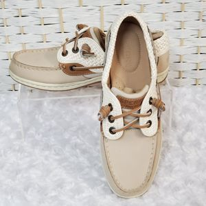 Sperry Womens 5 Ivory Stripes Songfish Boat Shoes
